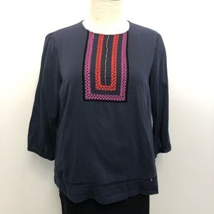 Boden Blouse Bohemian Navy Embroidered 16 Top AsIs